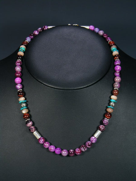 "Dyed Jasper and Turquoise 20"" Single Strand Choker Necklace"