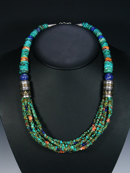 Spiny Oyster and Turquoise Multi Strand Bead Necklace