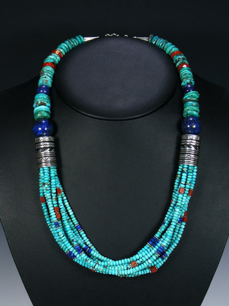 Lapis and Turquoise Multi Strand Bead Necklace