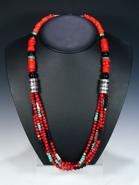 Coral Onyx and Turquoise Multistrand Beaded Necklace