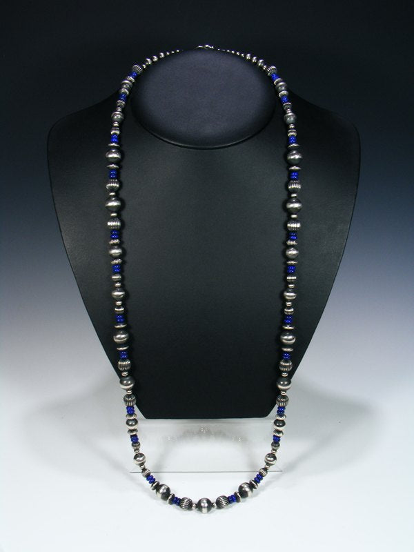 "Long 36"" Navajo Lapis Sterling Silver Bead Necklace"