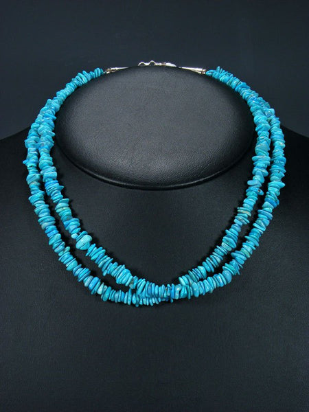 Native American Indian Jewelry Double Strand Turquoise Necklace