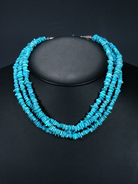 Native American Indian Jewelry Three Strand Turquoise Necklace