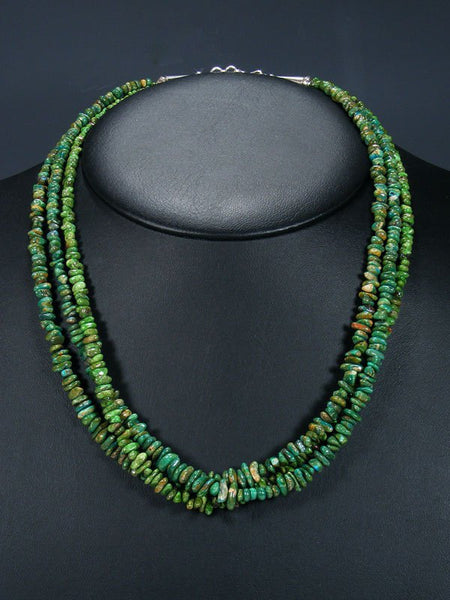 Native American Indian Jewelry Three Strand Chrysocolla Necklace