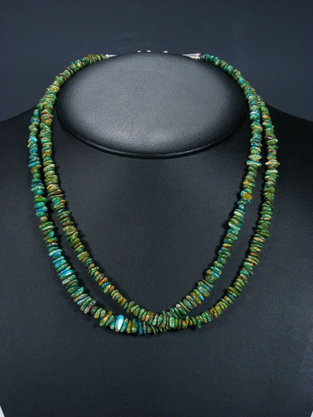 Native American Indian Jewelry Double Strand Chrysocolla Necklace
