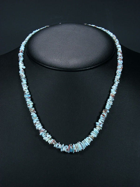 Native American Blue Larimar Single Strand Necklace