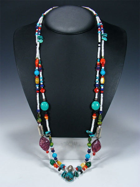 Native American Indian Santo Domingo Double Strand Necklace