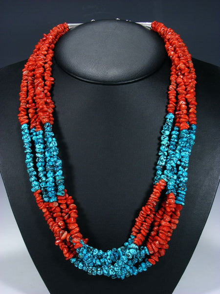Native American Santo Domingo Coral and Sleeping Beauty Turquoise Necklace