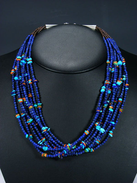 Native American Santo Domingo Lapis Turquoise and Spiny Oyster Necklace