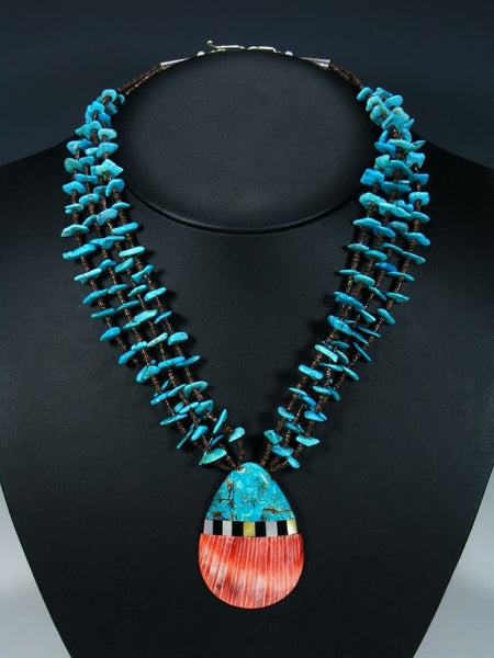 Native American Santo Domingo Inlay Shell Necklace