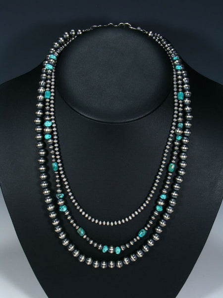 Native American Triple Strand Turquoise and Silver Bead Necklace