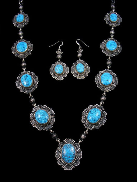 Navajo Kingman Turquoise Necklace and Earrings Set