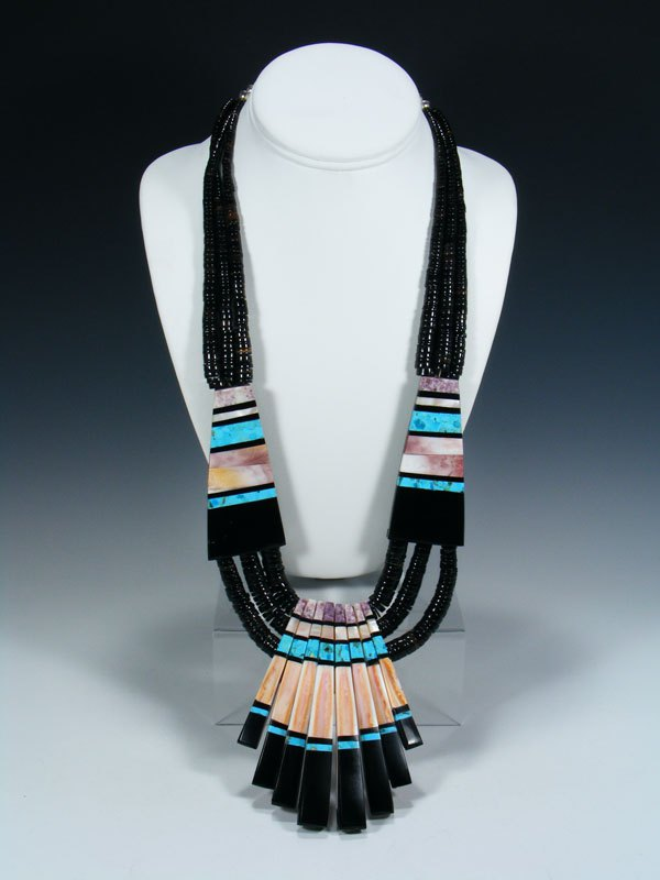 Native American Indian Santo Domingo Black Jet Mosaic Necklace
