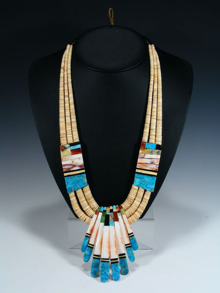 Native American Indian Santo Domingo Shell Mosaic Necklace