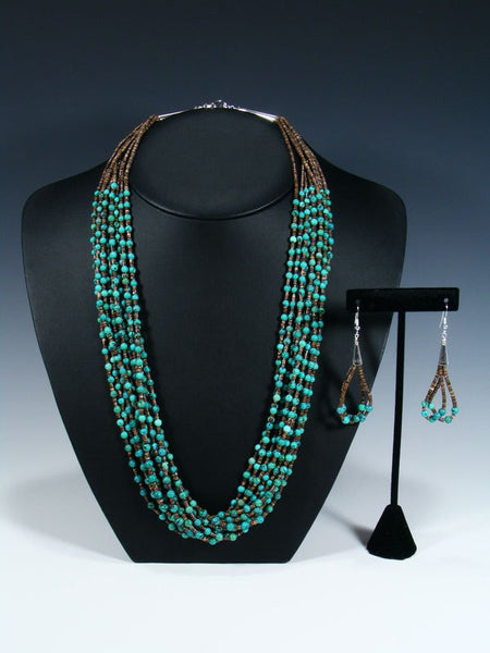 Native American Indian Santo Domingo Turquoise Ten Strand Necklace Set