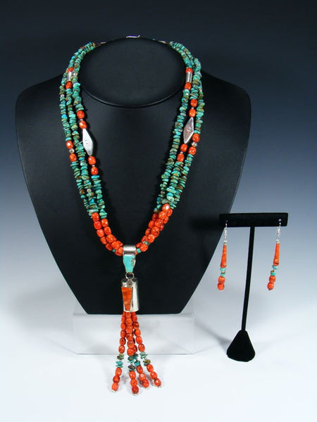 Santo Domingo Three Strand Turquoise and Apple Coral Necklace Set