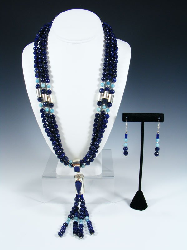 Santo Domingo Three Strand Lapis and Larimar Necklace Set