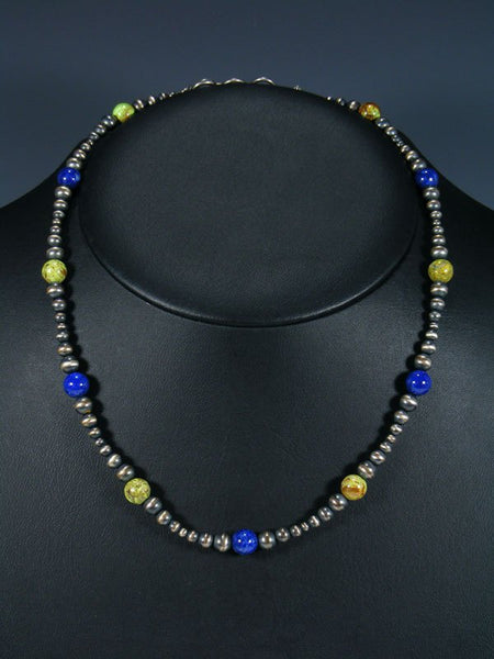 Native American Gaspeite and Lapis Beaded Choker Necklace
