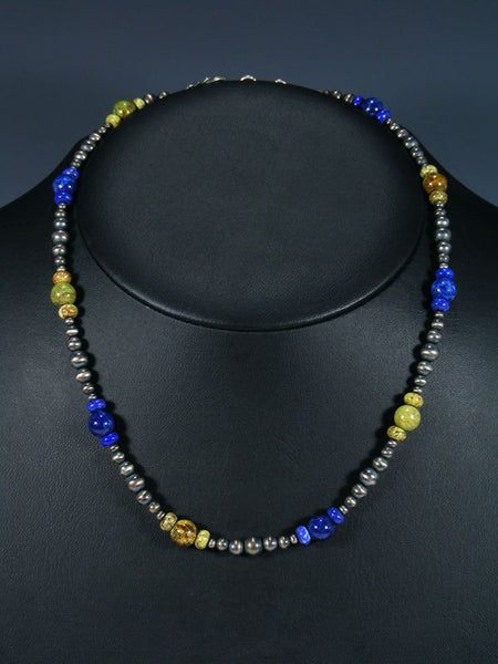 Native American Gaspeite and Lapis Beaded Necklace