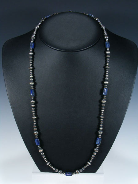 Long Native American Lapis and Silver Bead Necklace