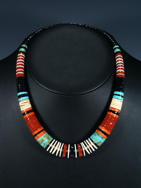 Native American Indian Apple Coral Turquoise and Shell Necklace
