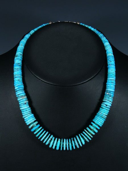 Native American Turquoise Chunky Disc Necklace