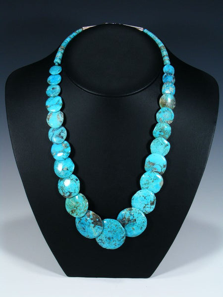 Native American Blue Turquoise Disc Necklace