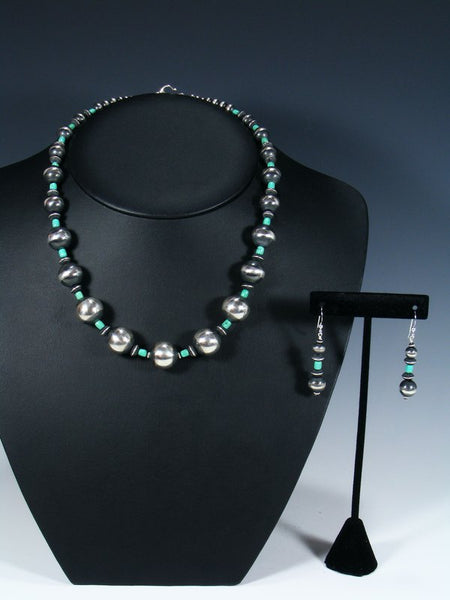 "20"" Navajo Turquoise Sterling Silver Bead Choker Necklace Set"