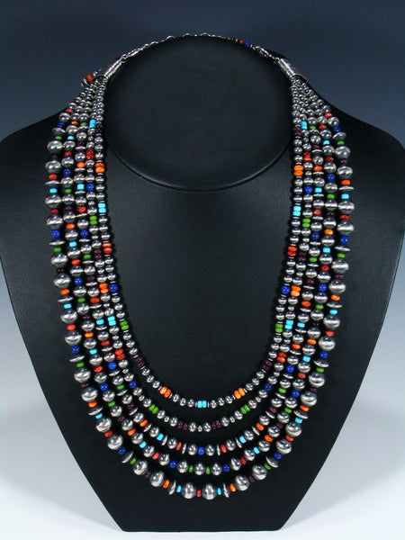Native American Turquoise and Spiny Oyster Five Strand Bead Necklace Set