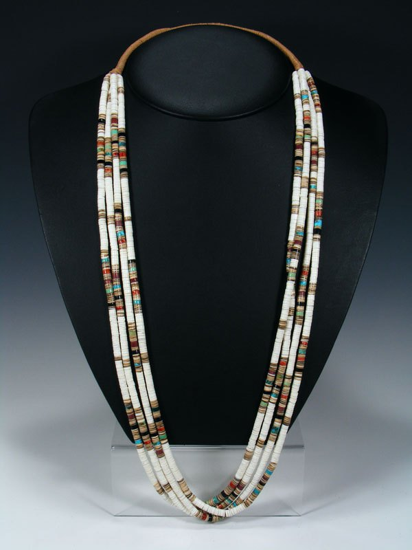 Four Strand Native American Santo Domingo Heishi Necklace