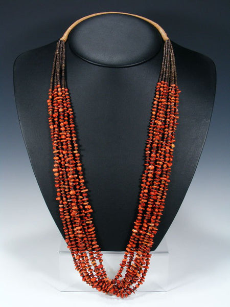 Seven Strand Native American Santo Domingo Apple Coral Necklace