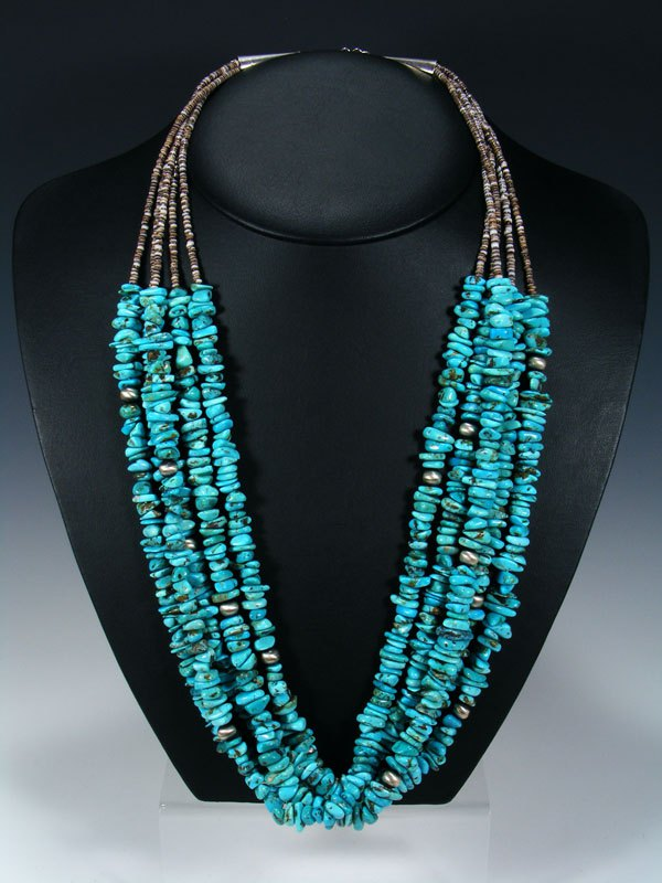 Native American Five Strand Turquoise and Heishi Necklace