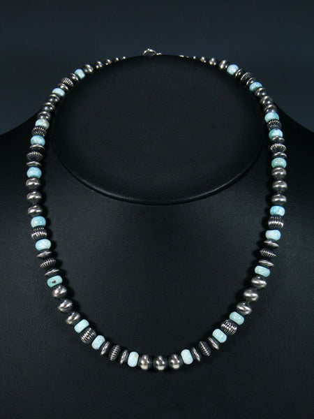 "20"" Navajo Larimar Sterling Silver Bead Necklace"
