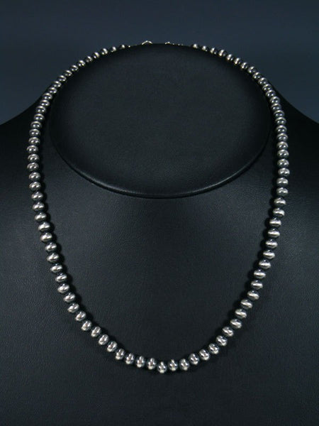 "Navajo 20"" Sterling Silver Bead Necklace"