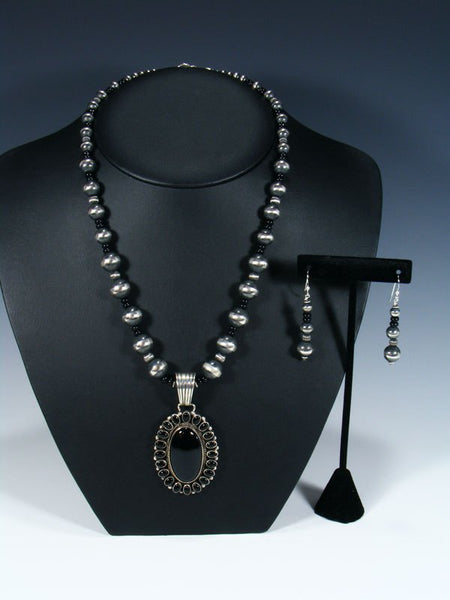 Native American Sterling Silver Black Onyx Beaded Necklace Set
