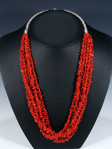 Native American Five Strand Natural Coral Necklace