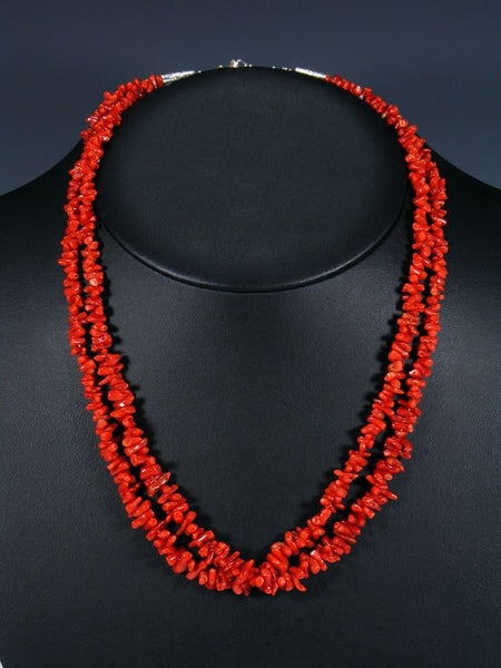 Native American Two Strand Coral Necklace