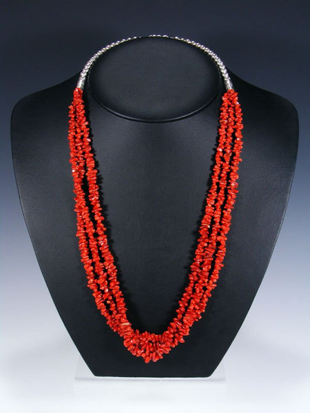 Native American Three Strand Coral Necklace