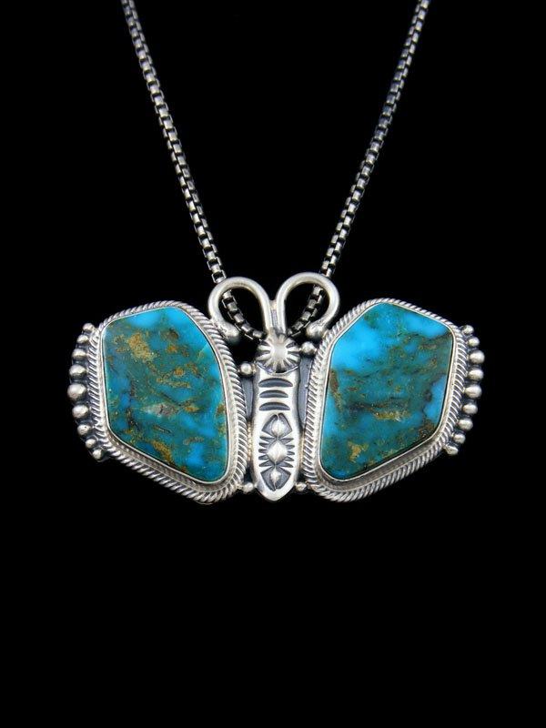 Native American Sterling Silver Kingman Turquoise Butterfly Necklace