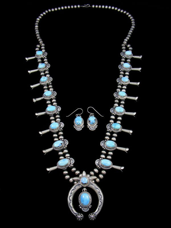 Golden Hill Turquoise Sterling Silver Squash Blossom Necklace Set