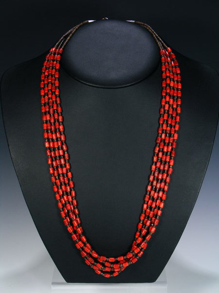 Native American Coral Heishi Five Strand Necklace
