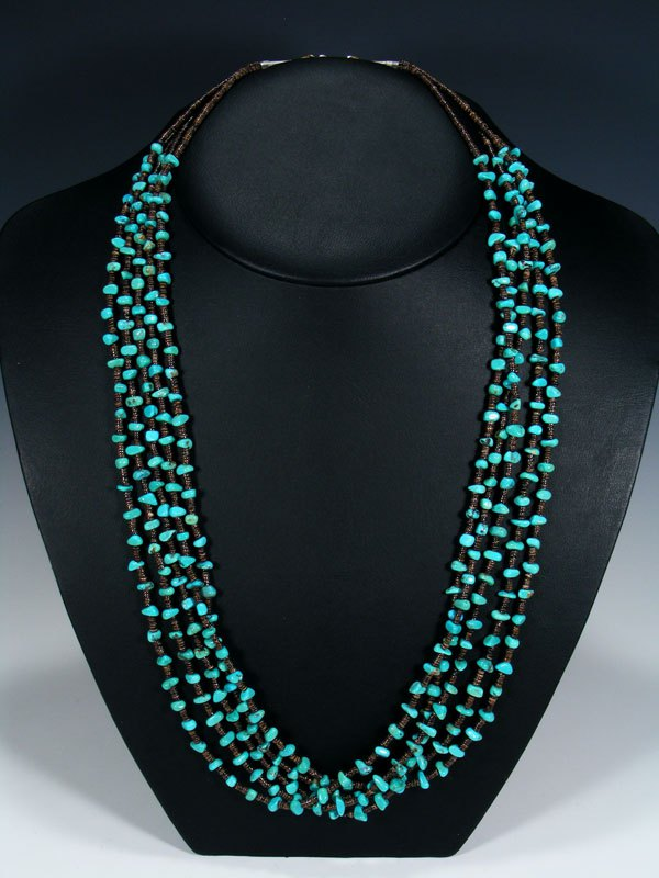 Native American Heishi and Turquoise Five Strand Necklace