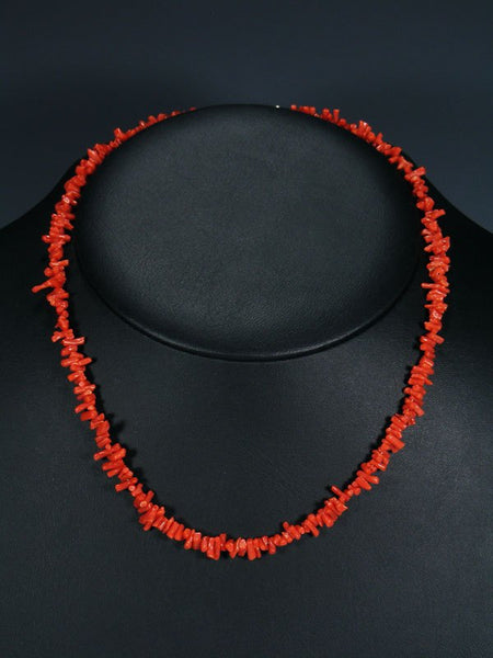 Single Strand Native American Deep Red Coral Necklace