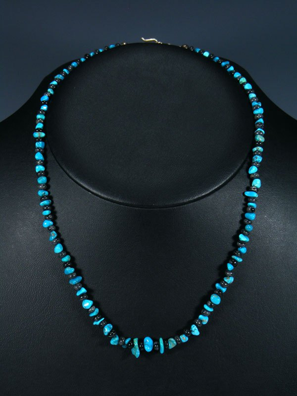 Native American Indian Jewelry Turquoise and Picasso Marble Necklace