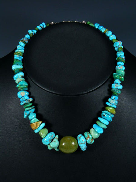 Native American Blue and Green Turquoise Choker Necklace