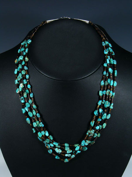 Native American Heishi Turquoise Five Strand Necklace