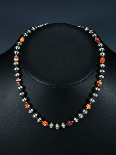 Native American Spiny Oyster and Silver Bead Necklace