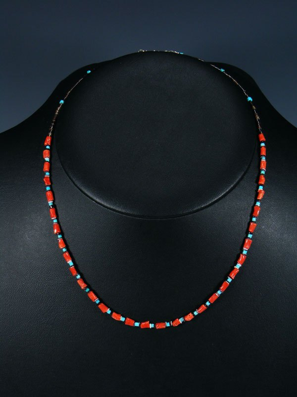 Native American Coral & Heishi Choker Necklace