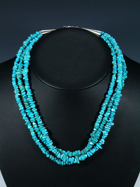 Native American Santo Domingo Turquoise Three Strand Necklace