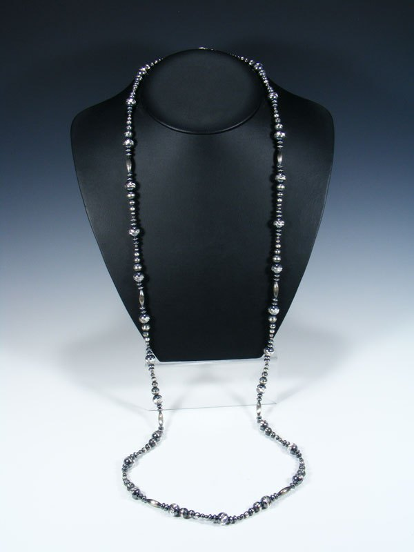 Extra Long Native American Sterling Silver Bead Necklace
